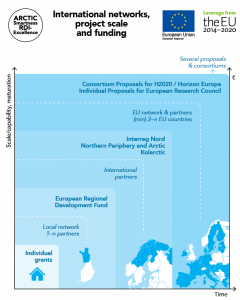 International networks, project scale and funding